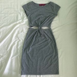 BOOHOO grey cut out mini dress, size 4